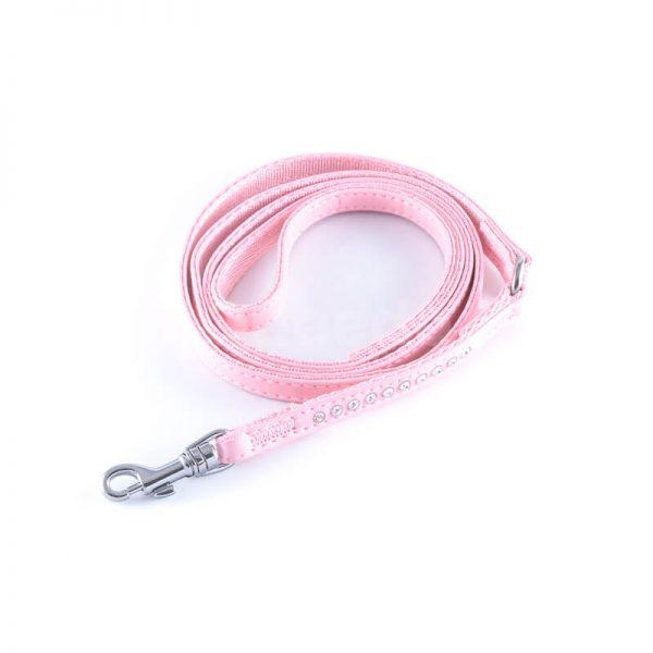 Elegantné ružové kožené vodítko pre mačky diamanty