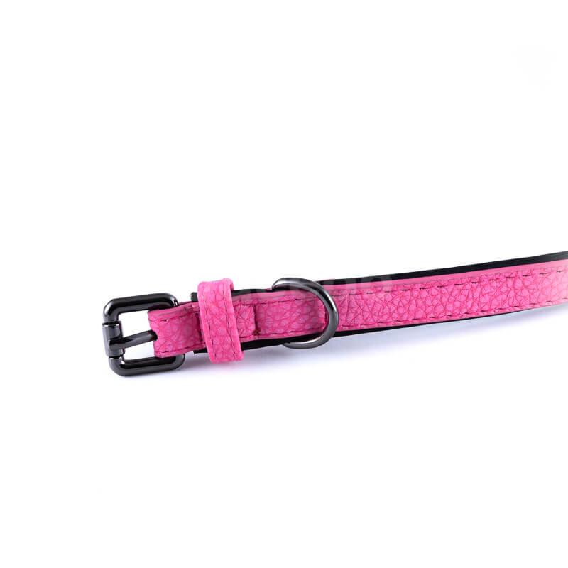 Kvalitný ružový kožený obojok pre mačky polyester vnútro