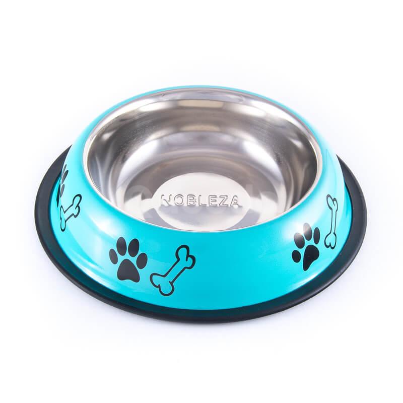 Krásna tyrkysová nerezová miska pre psa nápisy
