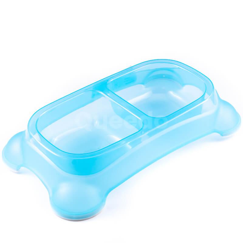 Vkusná dvojitá miska pre psa modrá