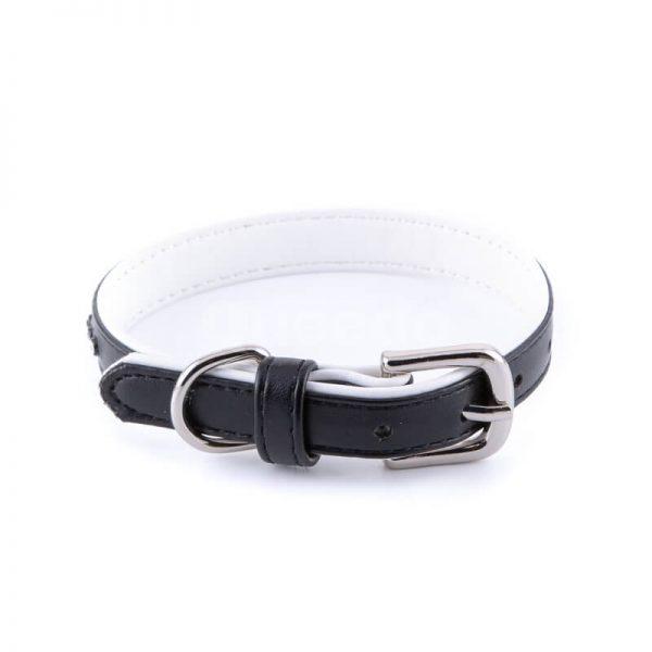 Praktický a pevný kožený obojok pre mačku menší malé diamanty čierny