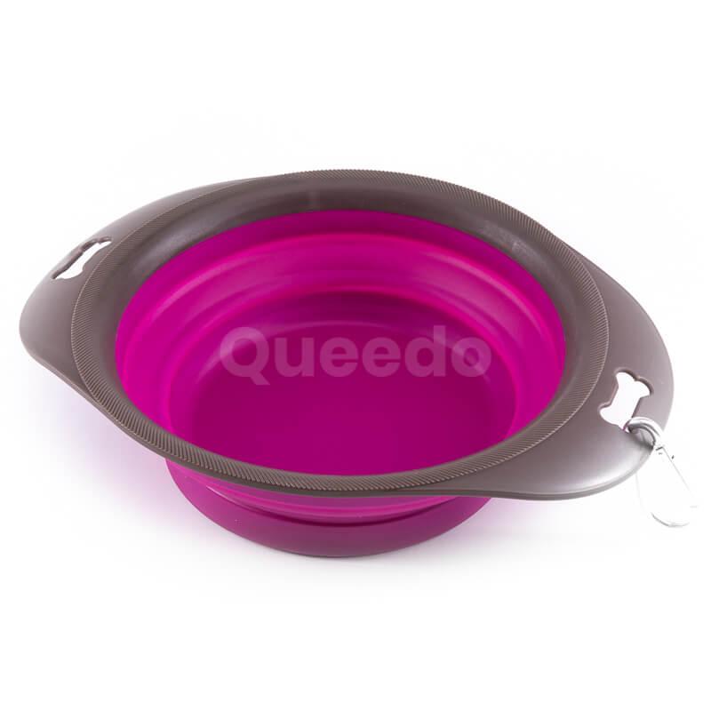 Praktická fialová silikónová skladacia miska pre psa