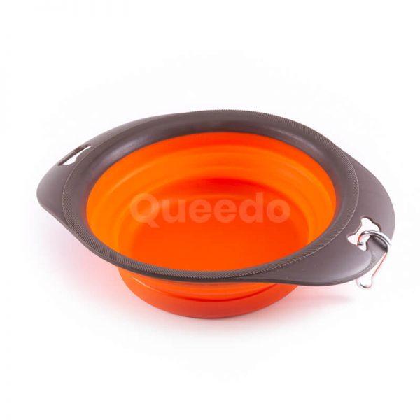 Praktická silikónová skladacia miska pre psa oranžová