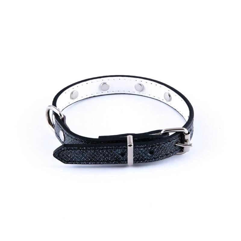 Estetický obojok pre mačku veľké diamanty čierny