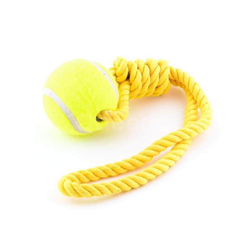 Zábavná hračka pre psa lano lopta žltej farby