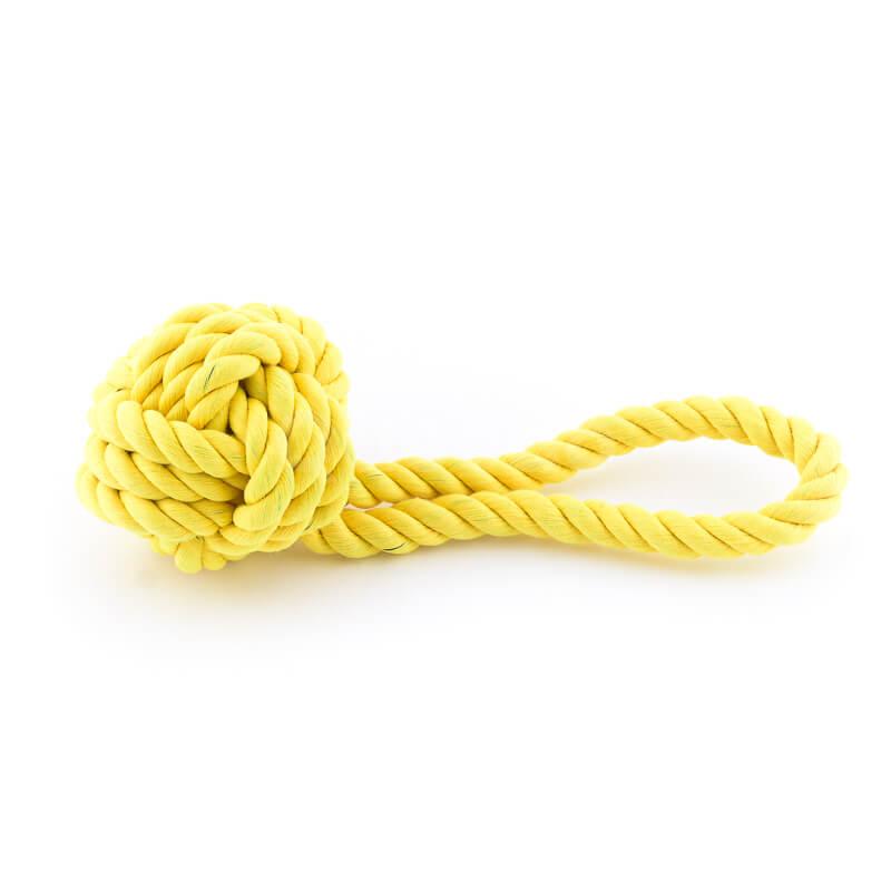 Pevná hračka pre psa lano uzol žltá