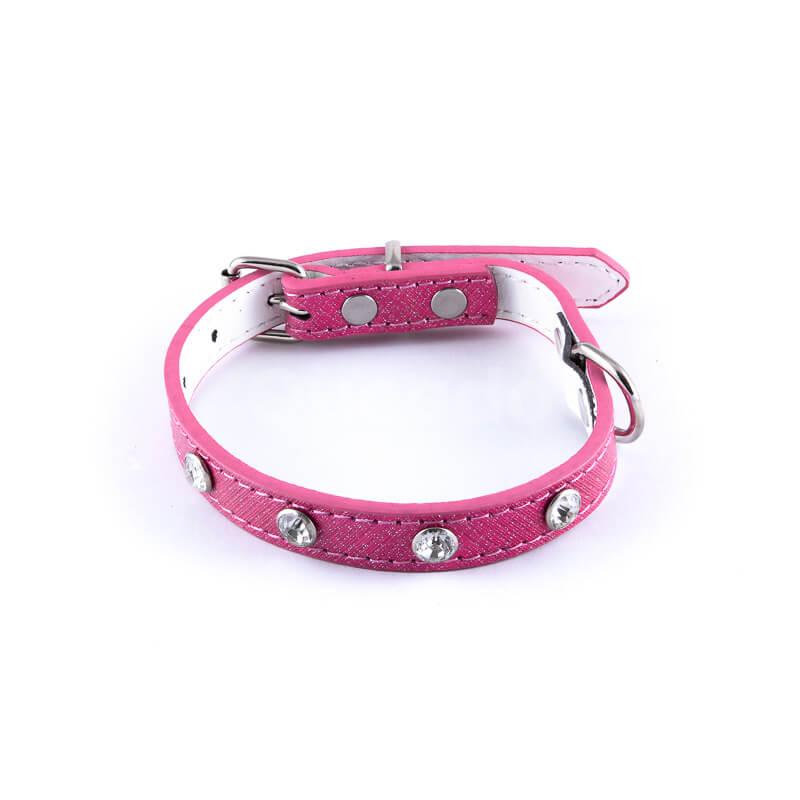 Krásny kožený obojok pre mačky veľké diamanty ružový