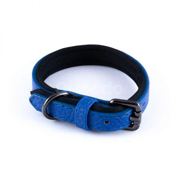 Elegantný kožený obojok pre psa polyester vnútro modrý
