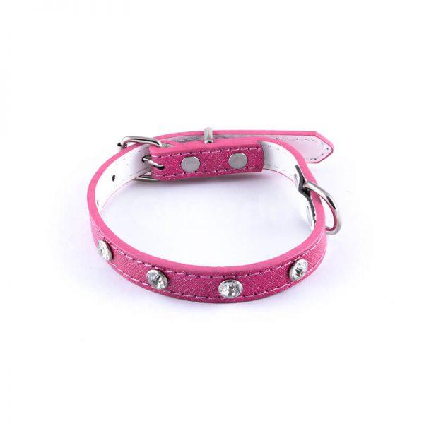 Krásny kožený obojok pre psa veľké diamanty ružový