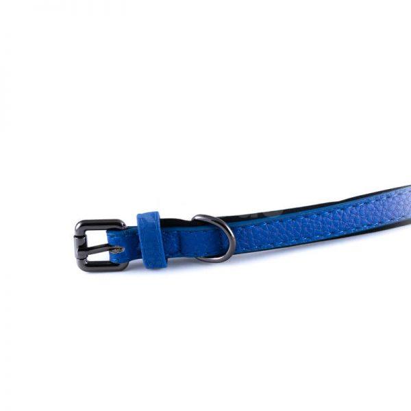 Pevný modrý kožený obojok pre psa polyester vnútro