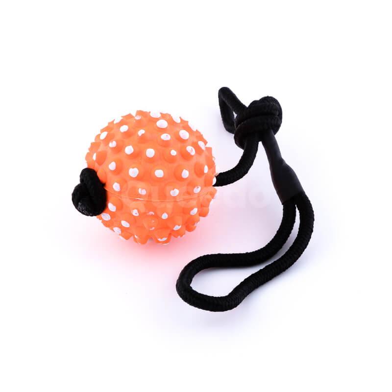 Kvalitná psia hračka lano lopta pichliače oranžová