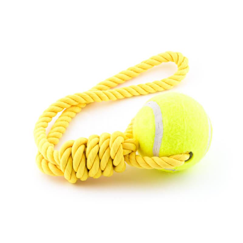 Odolná psia hračka lano lopta žltá