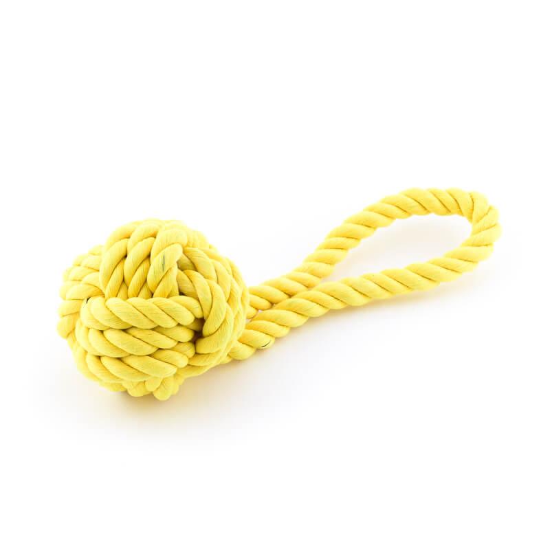 Odolná žltá hračka pre psa lano uzol