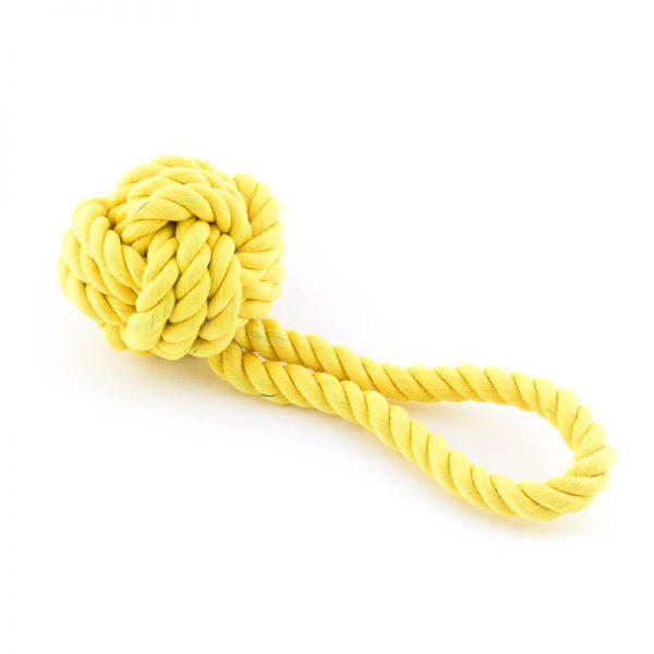 Kvalitná psia hračka lano uzol žltá