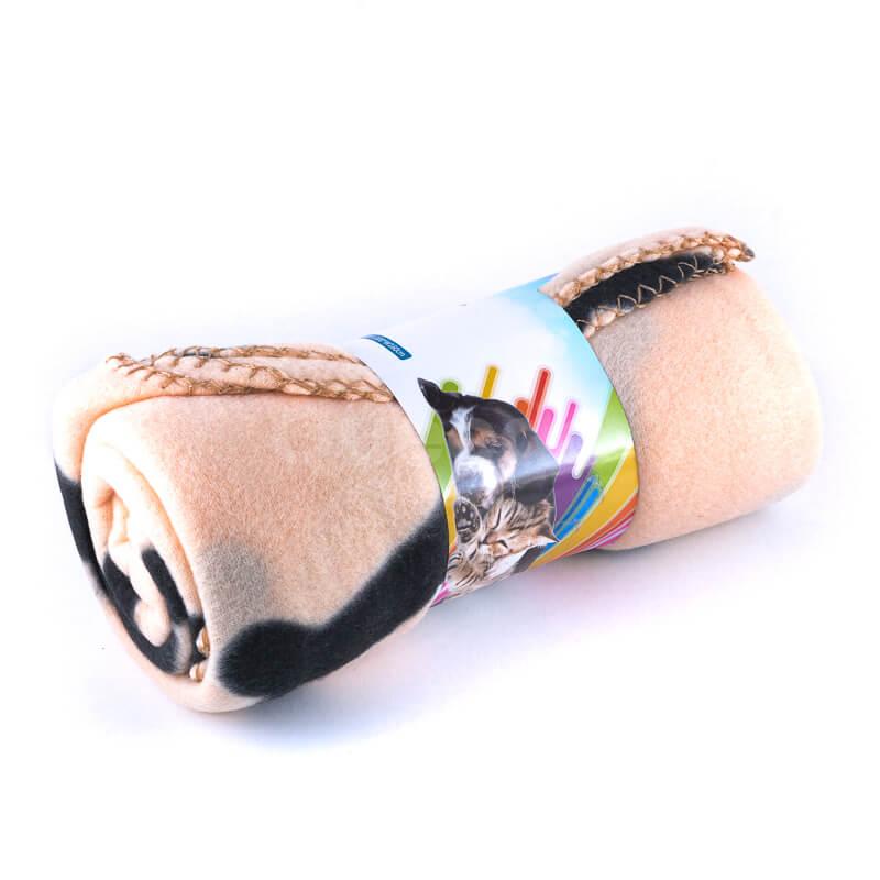 Elegantná deka pre psa do auta kosť béžová