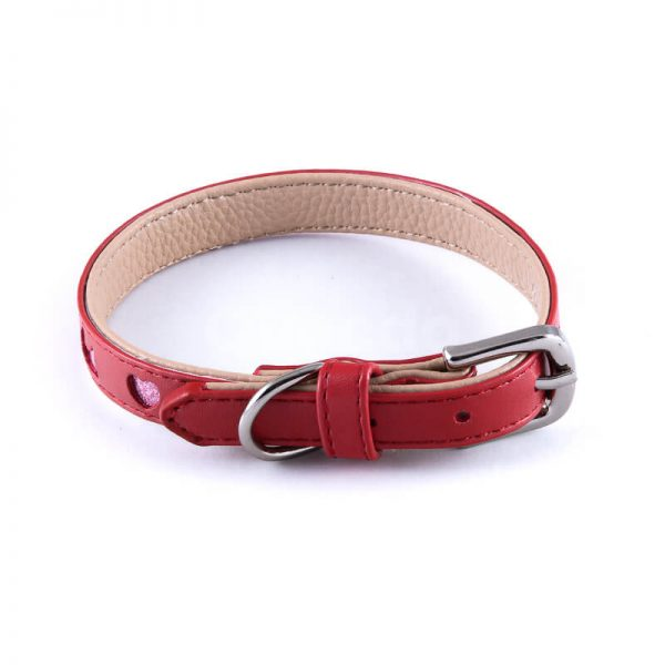 Praktický červený kožený obojok pre mačky výrez