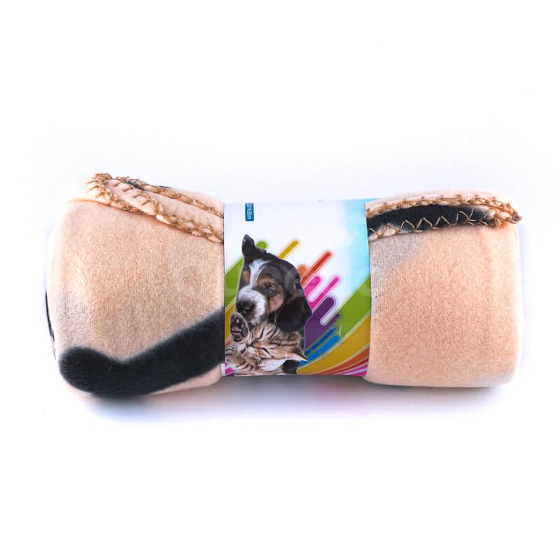 Kvalitná deka pre psa kosť béžová