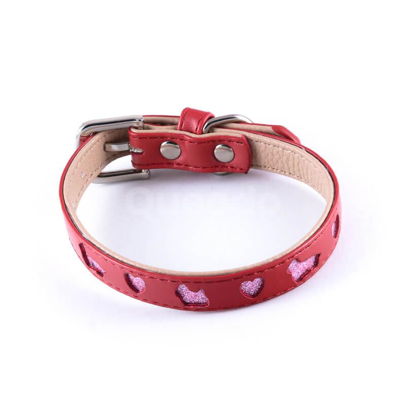 Kvalitný kožený obojok pre psa výrez červený