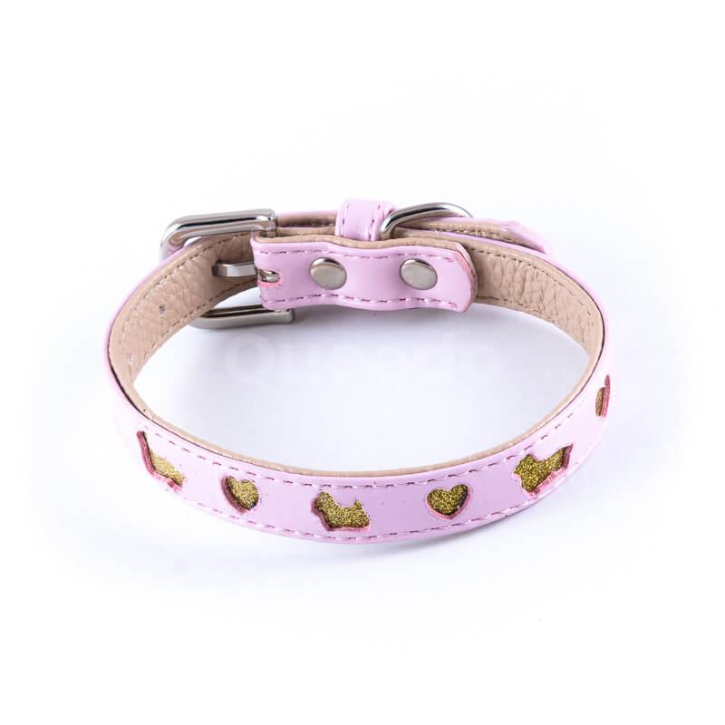 Estetický kožený obojok pre psa výrez ružový