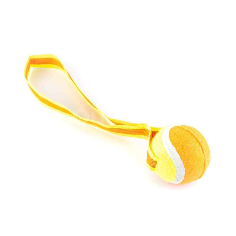 Praktická hračka pre psa lopta na lane oranžová