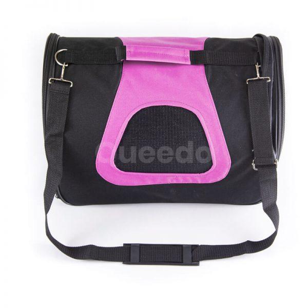Kvalitná prepravná taška pre psa čierno ružová