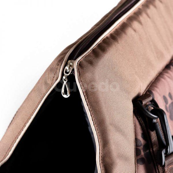Estetická prepravná taška pre mačku labky svetlohnedá Queedo