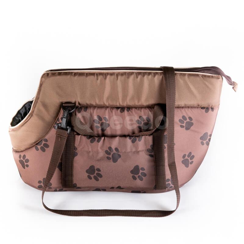 Kvalitná prepravná taška pre psa labky svetlohnedá Queedo