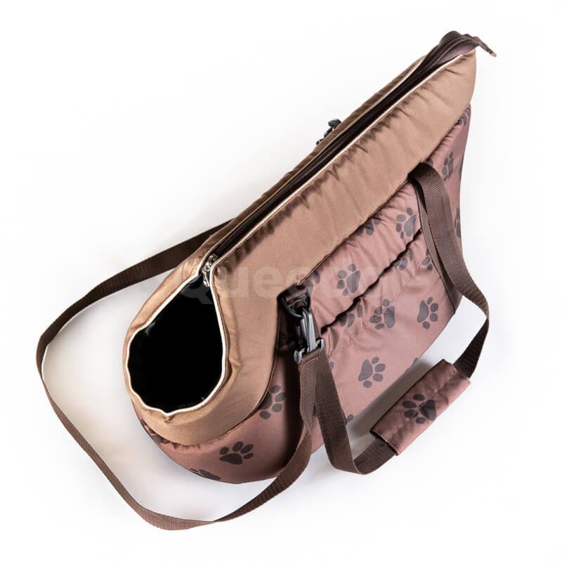 Elegantná a praktická prepravná taška pre psa labky svetlohnedá