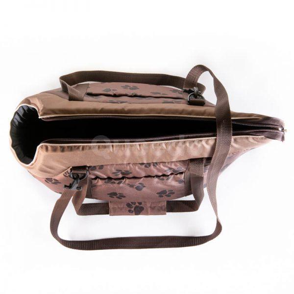 Krásna a pohodlná taška pre mačku labky svetlohnedá