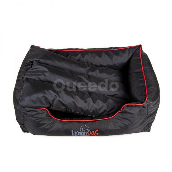 Elegantný psí pelech Comfort červené lemo čierny