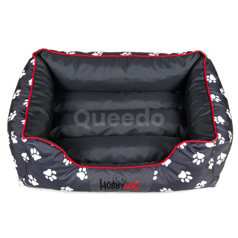 Elegantný a krásny pelech pre psa Prestige červené lemo labky čierny Queedo
