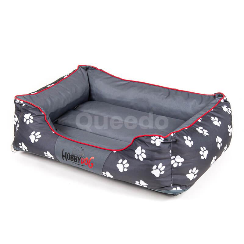 Moderné pelechy pre psov červené lemo labky šedé