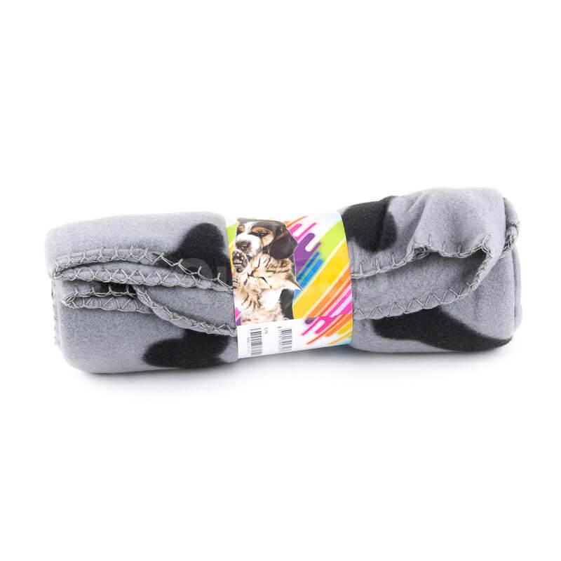 Pohodlná deka pre psa kosť šedá