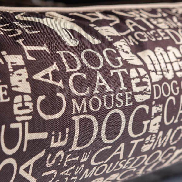 Hnedý pelech pre psa Prestige nápisy detail Queedo