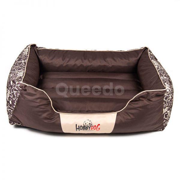 Hnedý psí pelech Prestige nápisy Queedo