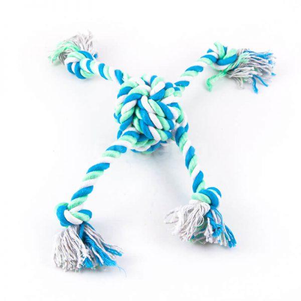 Hračka pre psa farebný uzol 4 laná modro zelený