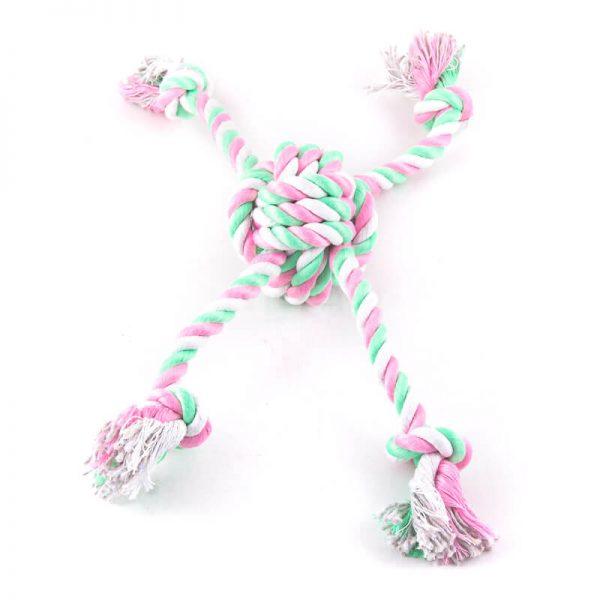 Hračka pre psa farebný uzol 4 laná ružovo zelený