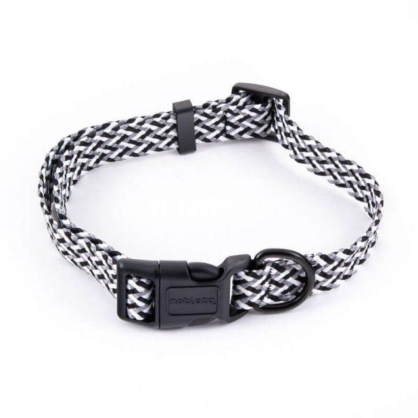 Obojok pre mačky pletený šedo čierny