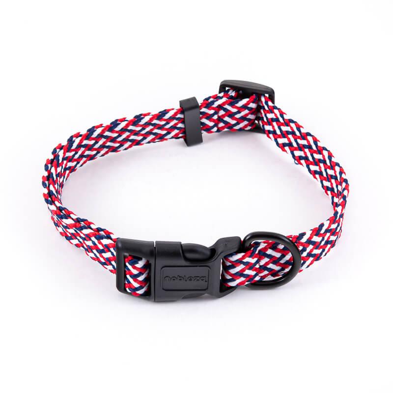 Obojok pre psa pletený červeno modrý