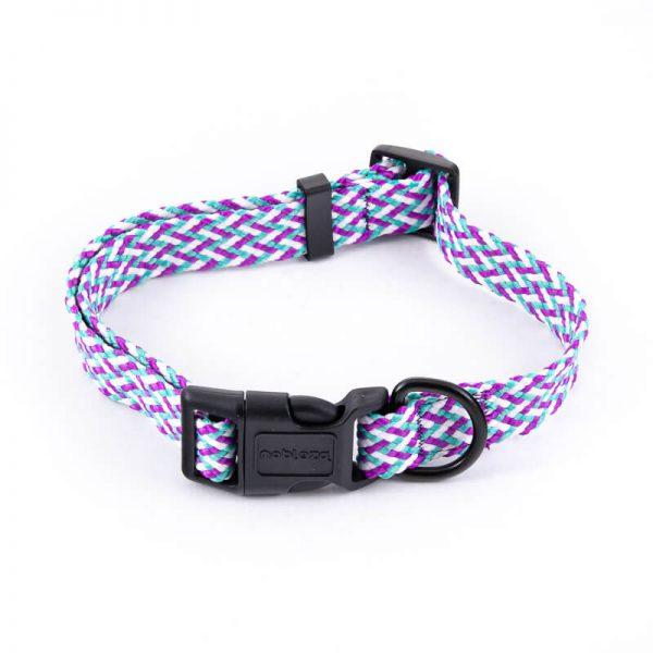 Obojok pre psa pletený fialovo tyrkysový