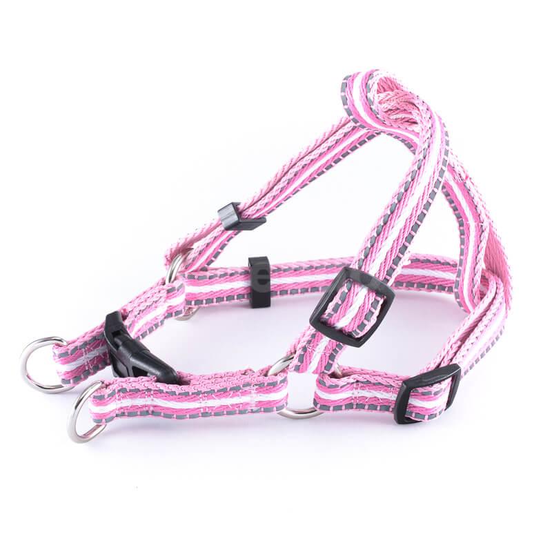Postroj pre mačku pásik reflex ružový Queedo