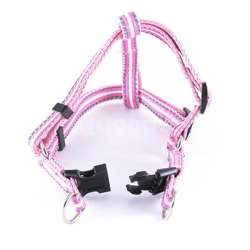 Ružové popruhy pre mačky pásik reflex Queedo