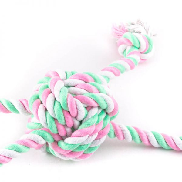 Ružovo zelená hračka pre psa farebný uzol
