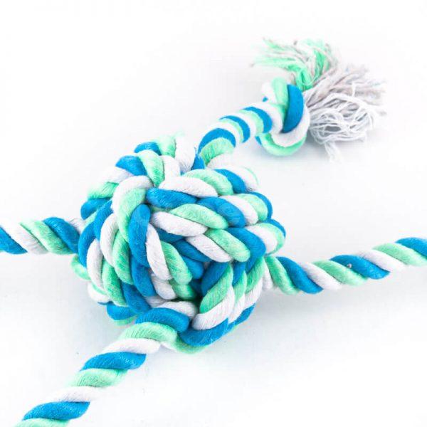 Zeleno modrá hračka pre psa farebný uzol
