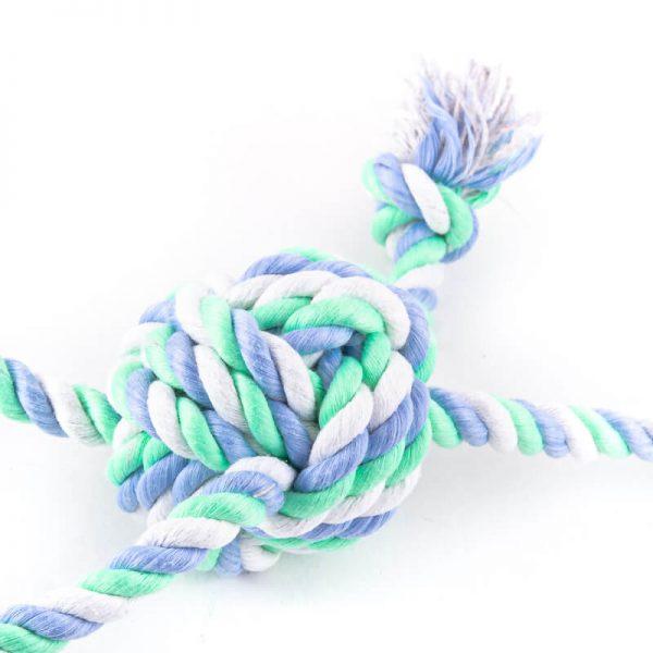 Zeleno svetlomodrá hračka pre psa farebný uzol